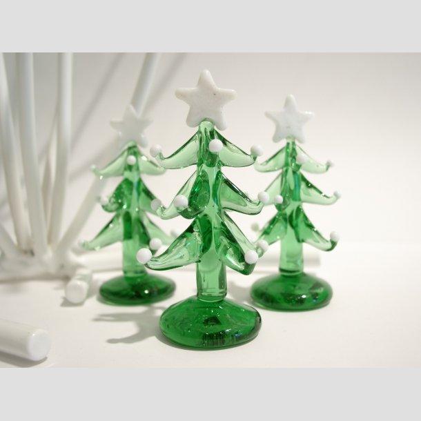 Grantræ i Glas - Grøn med Hvid Stjerne/Sne - 8cm