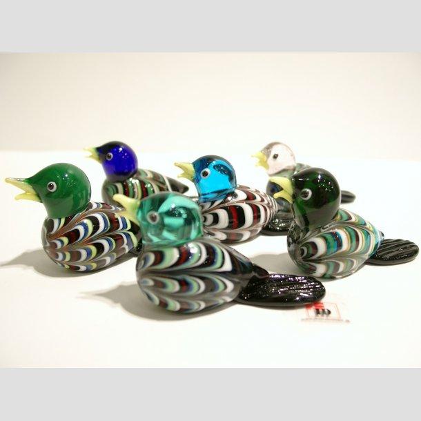Stribede Glas Fugle - 6 Farver - 7cm