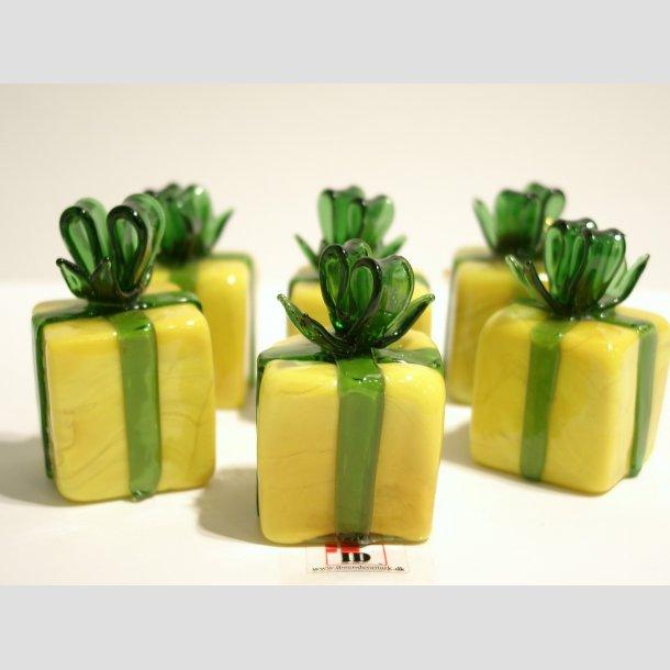 Gave Pakker i Massiv Glas - Gul/Grøn Forårsgave - Grøn Sløjfe - 3cm