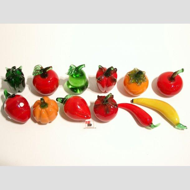 Frugt - Lille Glas Frugt - Massiv 2,5cm-6cm