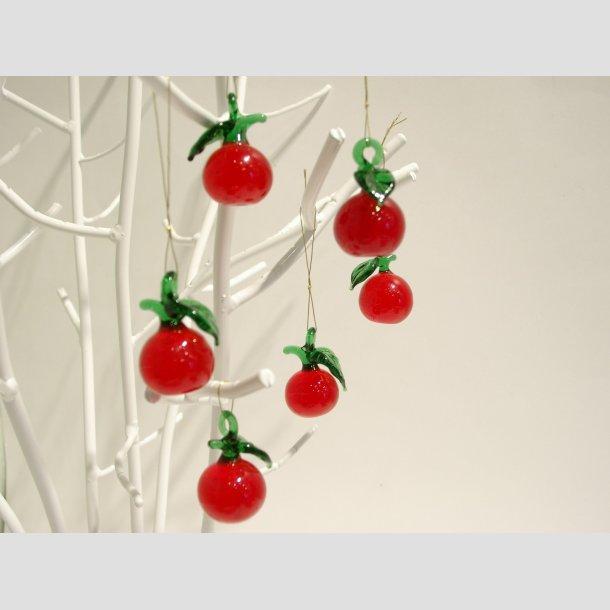 Hængende Glas Mini Æbler - Røde - 3cm