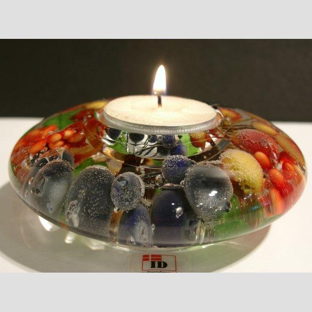 Glaskunst - Lysestage I Glas til Fyrfadslys - Drømmelys - Very Berry - 4x11cm
