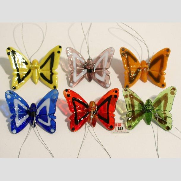 Glaskunst - Hængende - Glas Sommerfugle - 6 Farver - 5,50cm