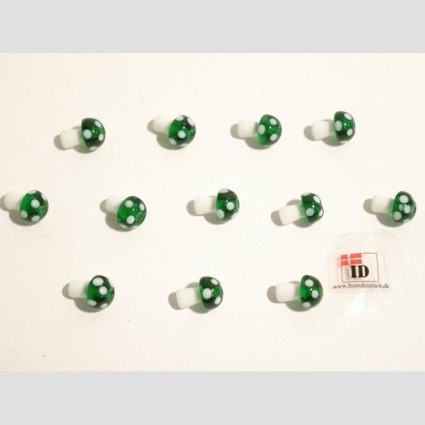 Glas Perle - Champignon - Grøn/Hvid - 1,2cm