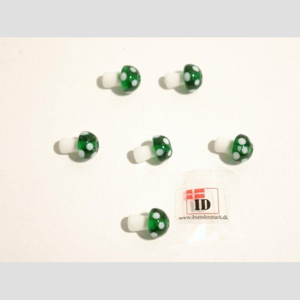 Glas Perle - Champignon - Grøn/Hvid - 1,2cm Perle6