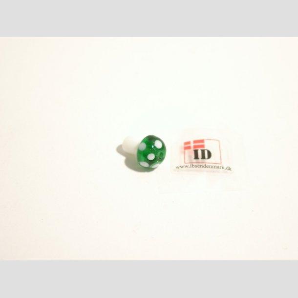 Glas Perle - Champignon - Grøn/Hvid - 1,2cm Perle1