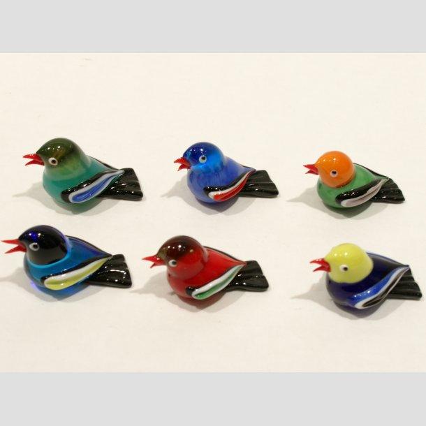 Glas Fugle - Mini 6 Farver - 4cm